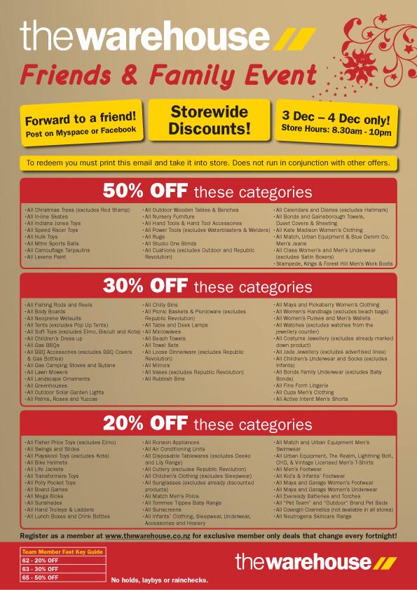 Warehouse discount voucher