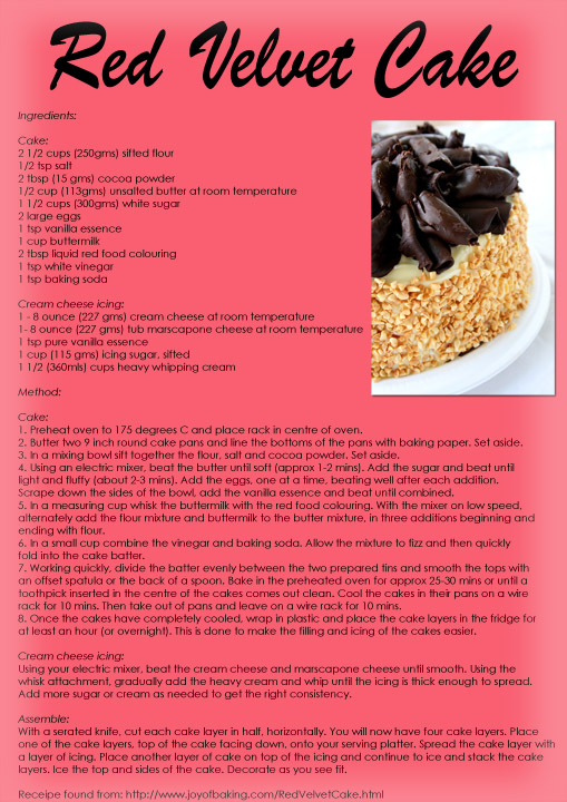 Red velvet cake receipe DS